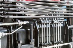 hydraulisch systeem van de tractor of ander bouwmateriaal royalty-vrije stock foto