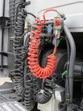 Hydraulische kabelvrachtwagen De kabels van de vrachtwagenrem Stock Foto