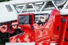Hydraulische ladder van de close-upmening van de brandmotor stock foto's