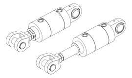 hydraulisk cylinder Arkivfoton