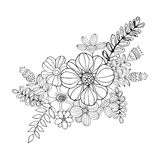 Hydrengea Flower doodle drawing freehand , Coloring page with doodle Stock Photo
