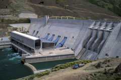 Hydro Dam, New Zealand. Clyde hydro dam, New Zealand Stock Photo