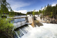 Hydro Electric. A hydro electric plant on a river Royalty Free Stock Images