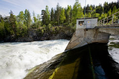 Hydro Electric. A hydro electric plant on a river Royalty Free Stock Photos