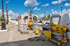Hydro electric actuator for lift safety rope guarding Stock Image