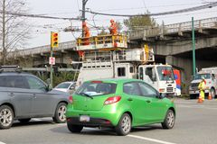 Hydro Electric Crew and Heavy Traffic stock photography