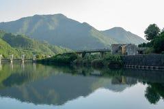 Hydro electric dam on the Serchio River. View from upstream of a hydro electric dam on the Serchio River near the town of Borgo a Mozzano, Italy royalty free stock photos