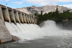 Hydro Electric Dam Spillway. Spillway of a hydro electric dam in the Rocky Mountains of Canada Stock Image