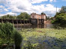Hydro-electric damn. Old Hydro Electric station in a picturesque location. Ukraine Stock Photography
