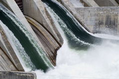 Hydro Electric Generator Dam. A Hydro electric generation plant with the water flowing rapidly through royalty free stock images