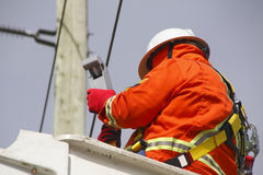Hydro Electric Linesman Checks Voltage Reader Stock Photography