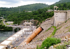 Hydro Electric Plant in Ghana. View of the dam and hydro-electric generators and pylons in Ghana in Africa stock photo