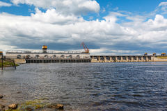 Hydro electric plant on the Volga River Royalty Free Stock Photo