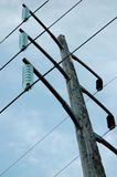 Hydro Electric Pole. A hydro electric pole with lines going to power plant Stock Photos