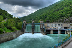 Hydro electric power plant. After rain Royalty Free Stock Images