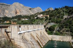 Hydro-electric power plant and dam, Andalusia. Hydro-electric power plant and dam in the Andalusian countryside, Chorro Gorge, Malaga Province, Andalucia, Spain Royalty Free Stock Photography