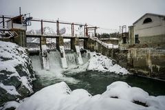 Hydro-electric power station on Chemal, Altai, Siberia Royalty Free Stock Images
