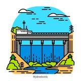 Hydro-elektriciteitelektrische centrale Elektriciteit die uit waterkracht wordt veroorzaakt : industrieel vector illustratie