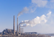 Hydro-elektrische en met kolen gestookte krachtcentrale Royalty-vrije Stock Fotografie