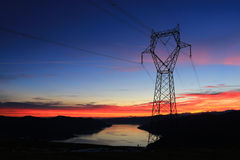 Hydro Energy Power Line. Power line, transmission line, hydro power Stock Photo