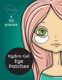Hydro Gel eye Patches ads. Vector Illustration with girl, package design Stock Image
