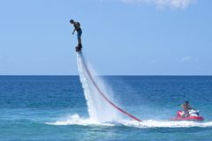 Hydro jetting. Aquatic sports in St Kitts Royalty Free Stock Photo
