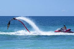 Hydro jetting. Aquatic sports in St Kitts Stock Images