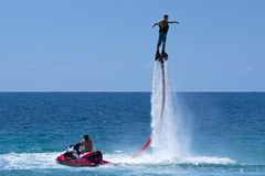Hydro jetting. Aquatic sports in St Kitts Royalty Free Stock Image