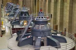 Hydro Power Generators. Seven of eight electro magnetic hydro power generators at Hoover Dam Stock Photography