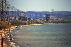 Hydro power line along the lake shore Royalty Free Stock Photography