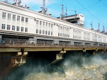 Hydro power plant. On Hydro power plant is drained excess water Stock Photos