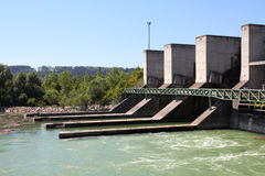 Hydro power plant. On Traun river in Marchtrenk, Austria. Concrete dam Royalty Free Stock Photos