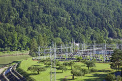 Hydro power plant. With pylons Royalty Free Stock Photo