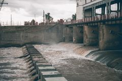 Hydro power plant, dam with water Royalty Free Stock Image