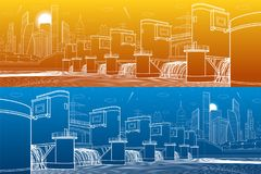 Hydro power plant. River Dam. Energy station. City infrastructure industrial illustration panorama. White lines on blue and orange. Background. Vector design Royalty Free Illustration