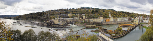 Hydro Power Plant at Willamette Falls in Autumn. Hydro Power Plant at Willamette Falls Lock in Oregon City at Fall Season Panorama Stock Image