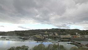 Hydro Power Plant at Willamette Falls Lock in Oregon City at Fall Season with Stormy Clouds Time Lapse stock video