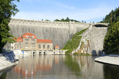Hydro powerhouse. And the old German dam built on the Pilchowice lakein in Poland Royalty Free Stock Image