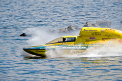 Hydro race boat. Unlimted Hydro Race boat on Lake Washington Seafair Sunday in Seattle WA Royalty Free Stock Photo