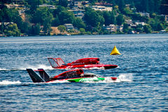 Hydro Race Boats. Unlimted Hydro Race boats on Lake Washington Seafair Sunday in Seattle WA Stock Image