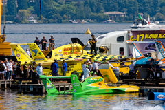 Hydro Race Pits Seafair. Walking by the Unlimted Hydro Race pits on Lake Washington Seafair Sunday in Seattle WA Royalty Free Stock Photos