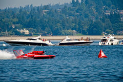 Hydro Races Seafair Seattle. Unlimted Hydro Race boat on Lake Washington Seafair Sunday in Seattle WA Royalty Free Stock Photography