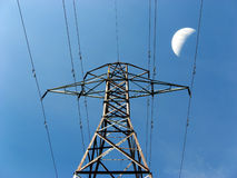 Hydro Tower with Moon Royalty Free Stock Image