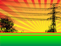 Hydro Tower and Trees Vector Scene. The silhouette of a large hydro tower and trees in front of a setting sun stock illustration