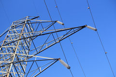Hydro Tower & Wires Against Blue Sky Stock Photo