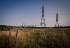 Hydro wires quebec. Hydro tower and wires in rural Quebec Royalty Free Stock Photo