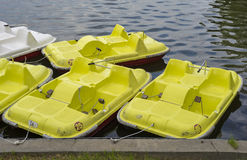 Hydrobikes anchoread at shore Royalty Free Stock Photography
