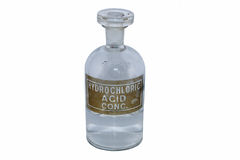 Hydrochloric acid bottle Royalty Free Stock Photo