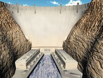 A hydroelectric dam. And power station Royalty Free Stock Images