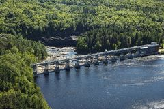 Hydroelectric dam, aerial view from the observation tower in Shawinigan city Royalty Free Stock Images